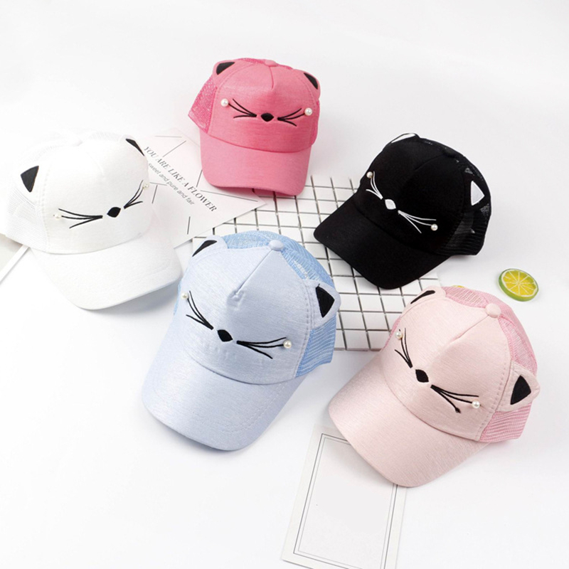 Apparel Accessories Efficient 1pc Child Cute Cat Baseball Cap Hat Summer Messy Bun Mesh Hats Casual Adjustable Shimmer Ponytail Sport Caps For Baby Kids Men's Baseball Caps