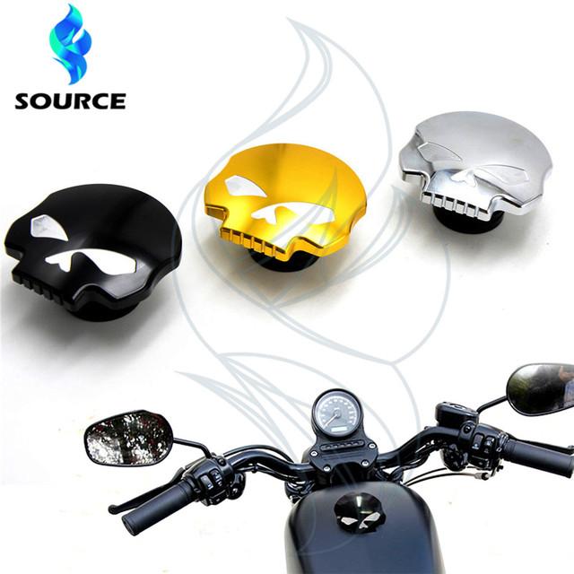 Para Harley Sportster Softail Dyna FXD FLT FL XL motocicleta accesorios cráneo aluinum fueml gas tapa del depósito de aceite tiene 3 colores