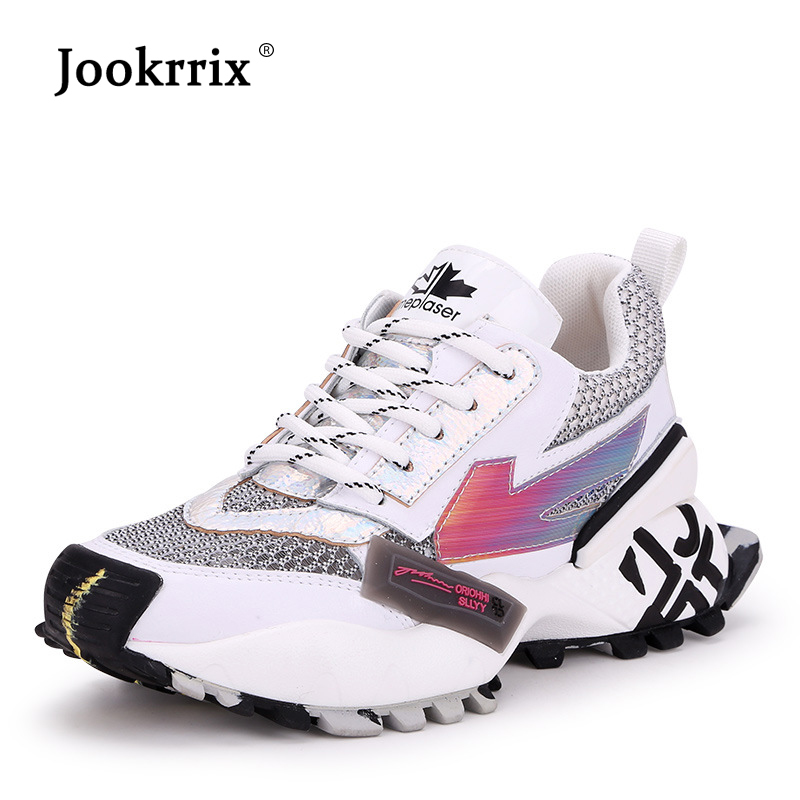 Jookrrix ผู้หญิงหนังรองเท้าผ้าใบสำหรับรองเท้าวิ่งสำหรับสตรี Chunky เพิ่มขึ้น 5 ซม. รองเท้าสีดำรองเท้าเลดี้-ใน รองเท้ายางวัลคาไนซ์สำหรับสตรี จาก รองเท้า บน   1