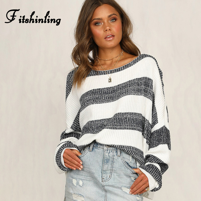 Fitshinling Big Size Loose Women Sweaters And Pullovers Knitwear White Grey Striped Womens Jumper Long Sleeve Pull Femme Sale