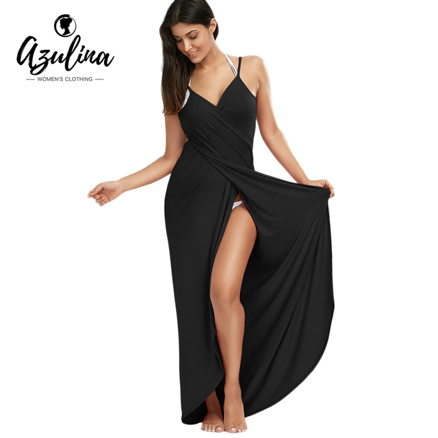 4d781cc910 AZULINA Wrap Slip Beach Dress Tunic Bikini Swimwear Cover Up Women Robe De  Plage Summer Beach Tunic for Beach Sarongs 2018 New