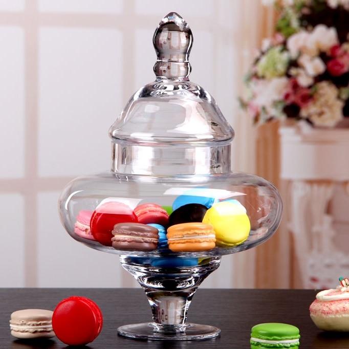 1L Retro Design Glass Storage Jar Decorative Candy Jar Household Organizer Canister Glassware Ornament Art and Craft Accessories