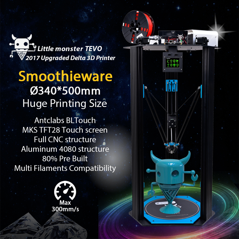 2017 TEVO Little Monster TEVO Delta 3D Printer Delta Large Printing Area OpenBuilds Extrusion/Smoothieware/MKS TFT28/Bltouch скейтборд little monster my area