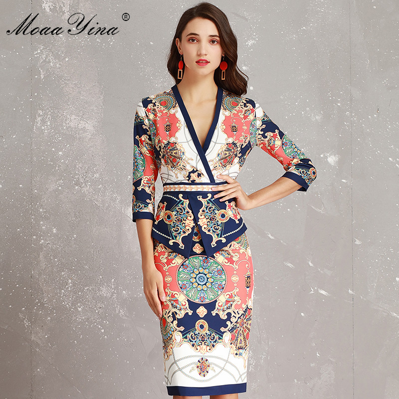MoaaYina Fashion Designer Runway Dress Spring Women V neck 3 4 sleeve Vintage Print Slim Ruffles