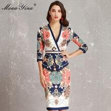 MoaaYina ファッションデザイナー滑走路ドレス春女性 V ネック 3/4 スリーブヴィンテージプリントスリムフリルパッケージ臀部エレガントなドレス