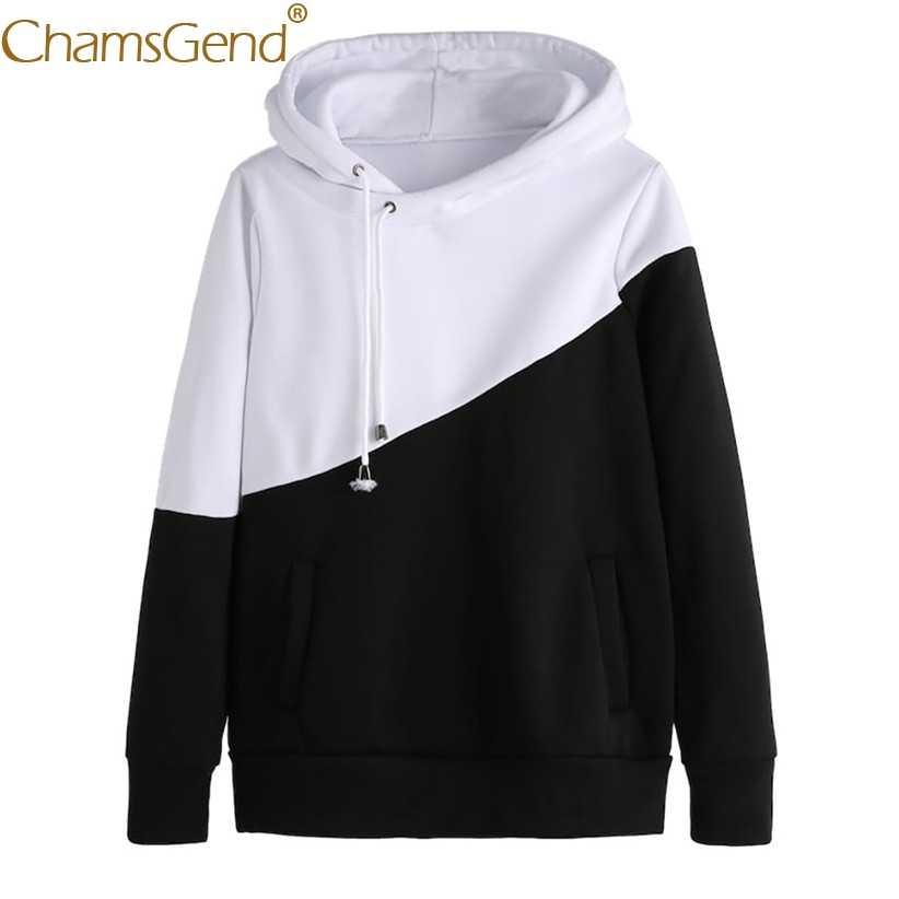 Newly Design Two Color Block Women Casual Hoodie Sweatshirt