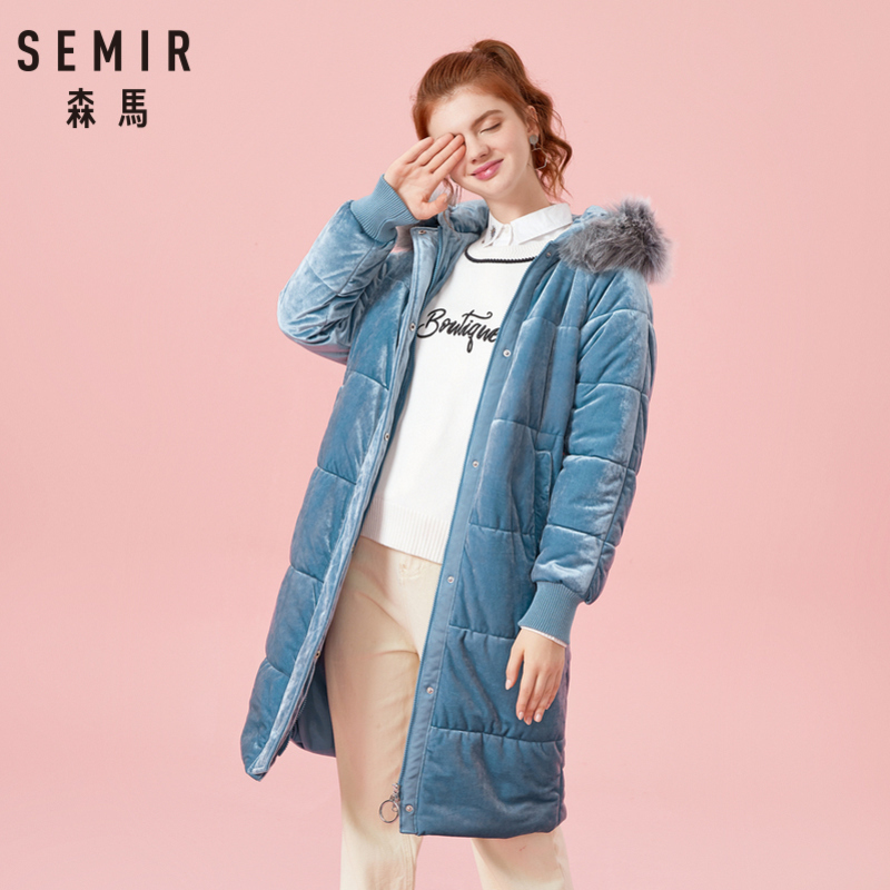 SEMIR Women Padded Velvet Coat with Hood with Detachable Faux Fur Trim Hooded Puffer Coat Zip