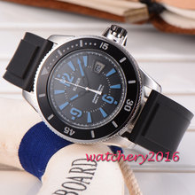 2017 Hot Newest 43mm Bliger mineral crystal black dial rubber strap stainless steel case miyota Automatic movement Men's Watch