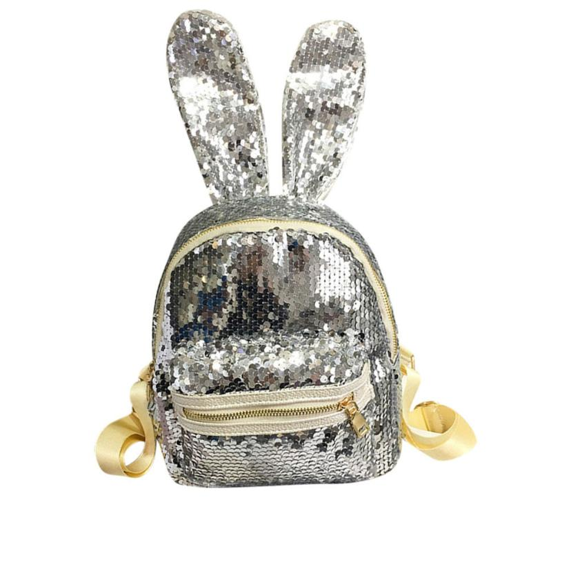 Mini Sequins Backpack Cute Rabbit Ears Shoulder Bag For Women Girls Travel Bag Bling Shiny Backpack Mochila FemTravel Laptop Bag