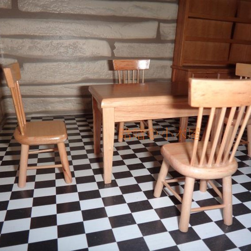 Dining table and chair set doll house 10