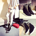 Women's Genuine Leather Wedge Platform Rhinestone Fashion Ankle Boots Comfort Winter Front Zip Short Booties Female Footwear HOT