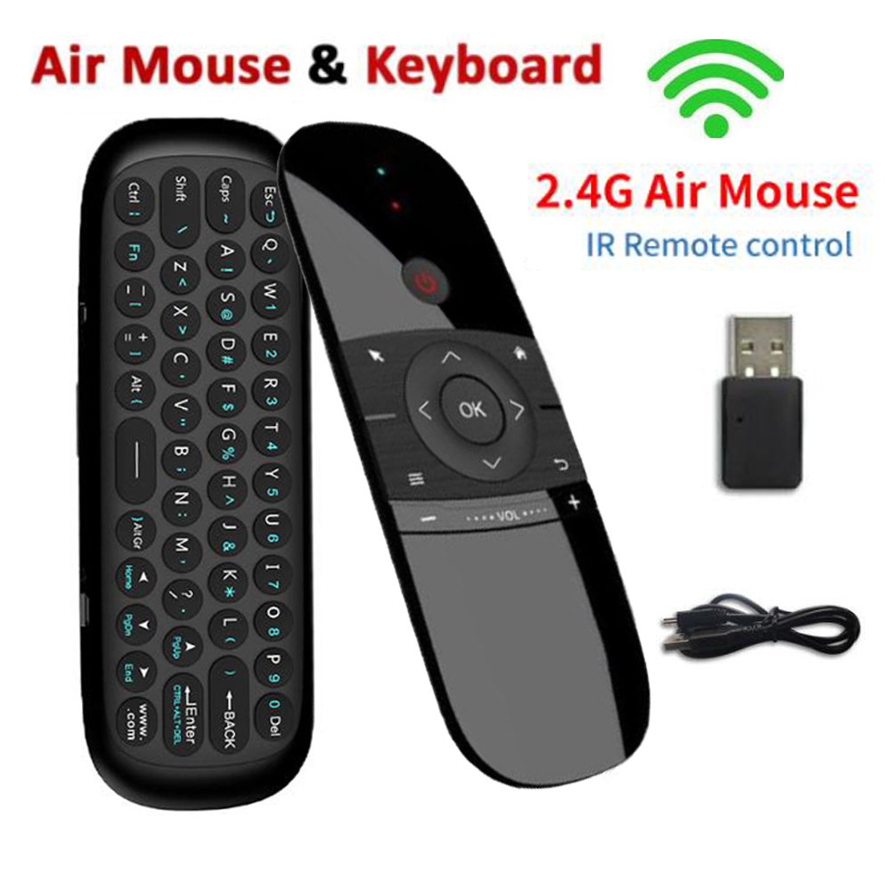 Hot Sale W1 Fly Air Mouse Wireless Keyboard Mouse 2.4G Rechargeble Mini Remote Control For Smart Android Tv Box Mini Pc