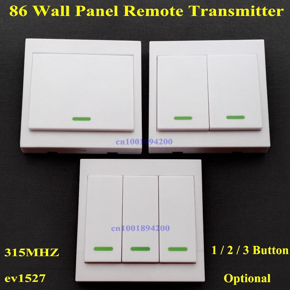 Hot Sale 86 Wall Panel Remote Transmitter 1 2 3 Button Sticky Rf Tx Way Light Switch Smart Home Room Hall Living Bedroom Wirelss Remote315 433 Ev1527