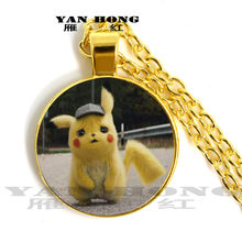 Fashion is in vogue. Big Detective Bikachu, 25mm hand-made glass crystal necklace. Fashion Pendant Jewelry(China)