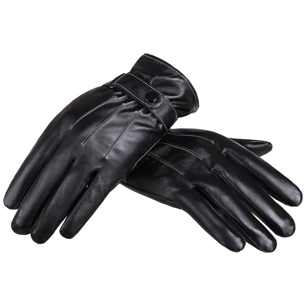 Synthetic leather driving gloves - Zeagoo Unisex Gloves Winter Warm Synthetic Leather Driving Gloves With Fleece Mtb Motocycle Bicycle Raing Gloves