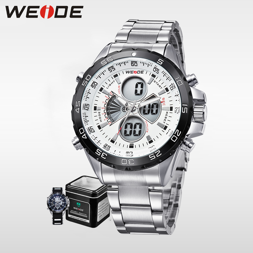 Weide Genuine men shockproof waterproof electronic watch  quartz sports LCD chronograph white relogio automatico masculin