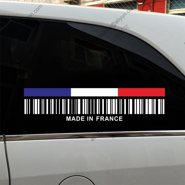 Upc barcode made in france france flag funny car truck decal sticker vinyl die cut no
