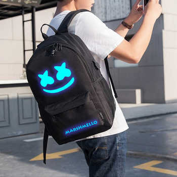 BPZMD DJ Trendy Anti-theft Usb Men Luminous Backpack for Girls Boys Teenagers Childrens Marshmello School Bag Women Cool Bookbag