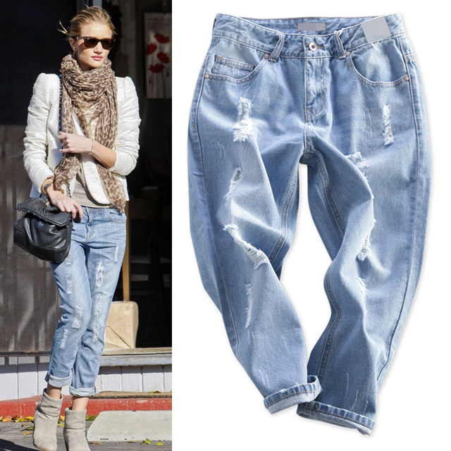 2014 high quality brand name Celebrity fall autumn fashion women's runway plus jeans harem capris pencil loose Distrressed pants
