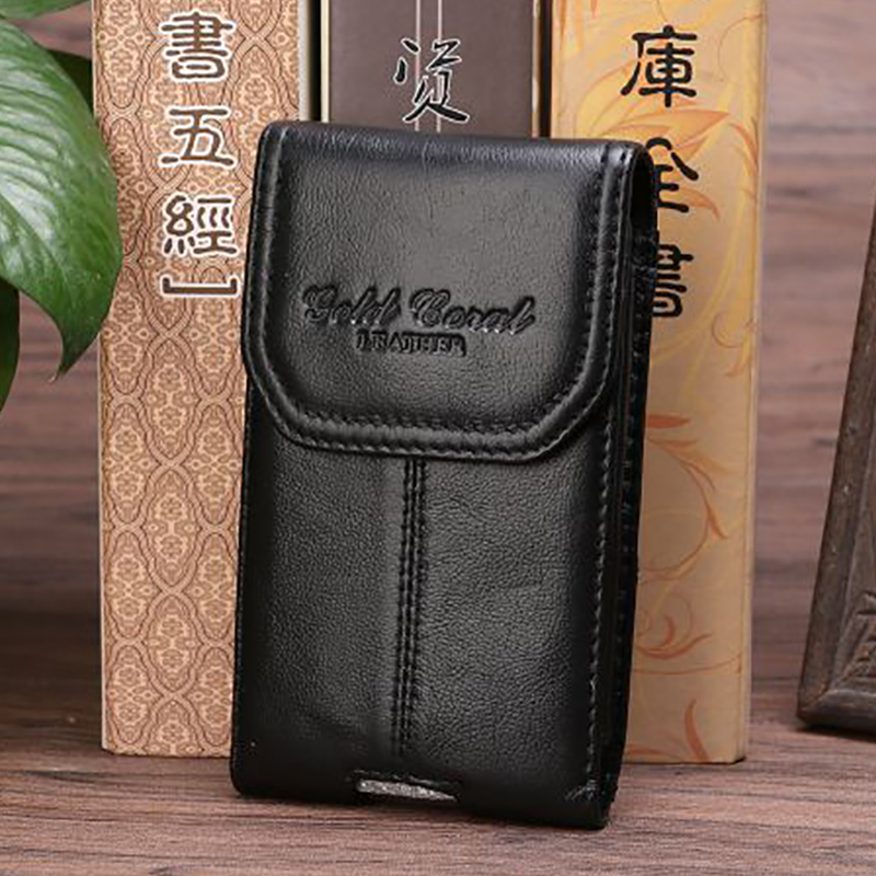 Hot Sale Natural Genuine Leather Cowhide Waist Bag Cell/Mobile Phone Case Cover Skin Belt Pouch Hip Bum Hook Fanny Pack Bags New