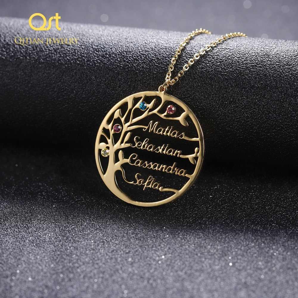 Заявление родовое Древо ожерелье для женщин пользовательское имя камень по дню рождения Колье Золото Нержавеющая Сталь Ювелирные изделия Персонализированные Рождественский подарок