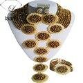 Marca Laanc Indiano Cristal Nupcial Conjuntos de Jóias de Casamento Africano Nigeriano Contas de Colar Banhado A Ouro AL177
