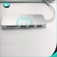 1 x 6 in 1 TC643 TYPE-C adapter Type-C to USB 3.0 X 2 + HDMI + SD/TF Card Reader hub Silver Grey (1)