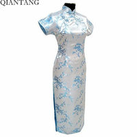 Light Blue Chinese Women S Qipao Long Cheong Sam Evening Dress Flower S M L XL