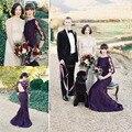2015 recién llegado de uva púrpura dama de Honor vestidos formales de la sirena Backless largo de encaje vestidos dama envío gratis BD198