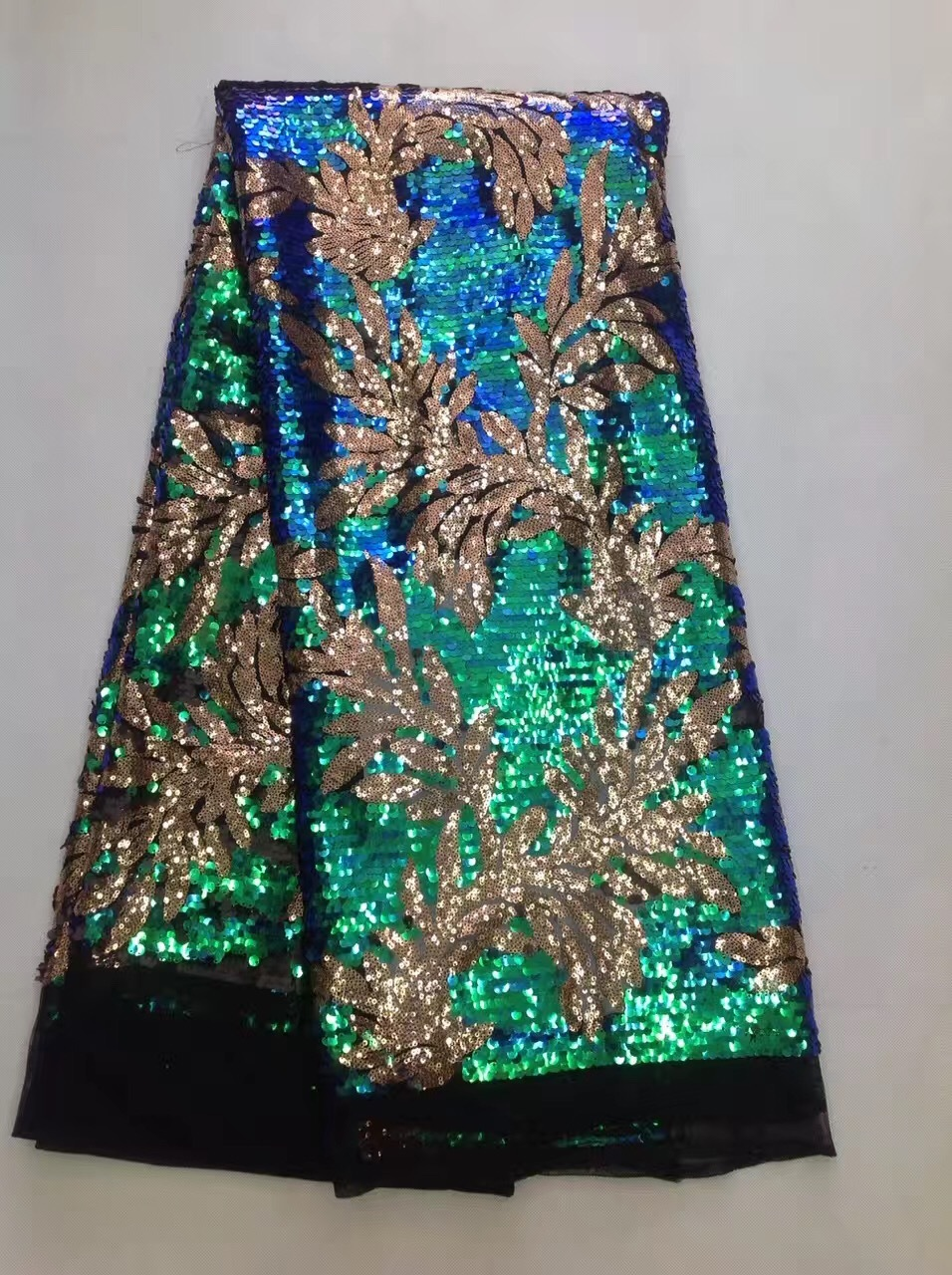 beautiful african lace fabric with pure sequins 2017 high quality sequin lace fabric latest discolour green