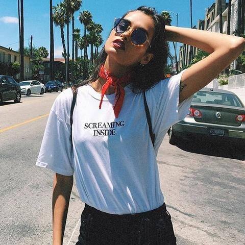 08bbec5360 Urlando all'interno della ragazza tumblr t shirt Fashion T Shirt Donna  manica corta magliette di Cotone Casual shirt Graphic top tees outfit in  Urlando ...