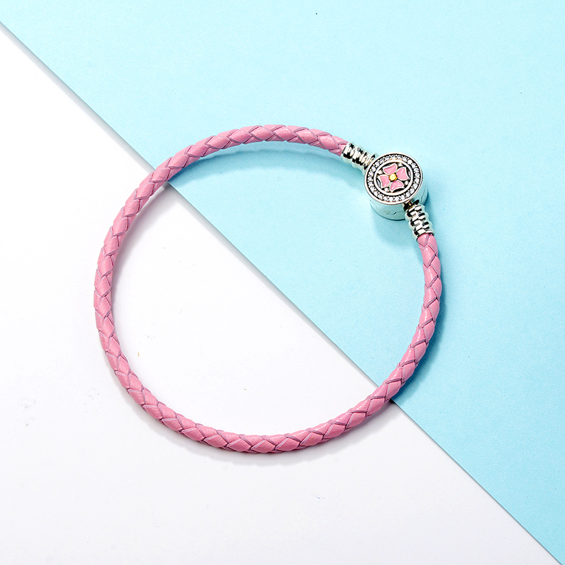 New design Pink Leather Rope Bracelet with pink enamel white CZ flower Buckle 925 sterling silver Women diy jewelry for gifts in Chain Link Bracelets from Jewelry Accessories