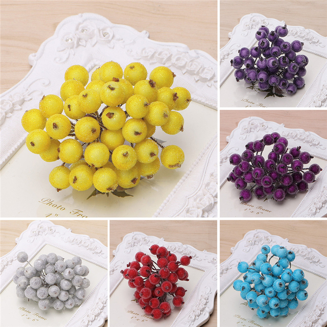 40pcs Mini Fake Fruit glass Berries Artificial pomegranate red cherry Bouquet Stamen Christmas Decorative Double heads -Y102 3