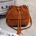 Women diagonal fringed shoulder bag 2016 new fashion handbags retro handbags pu leather shoulder bag