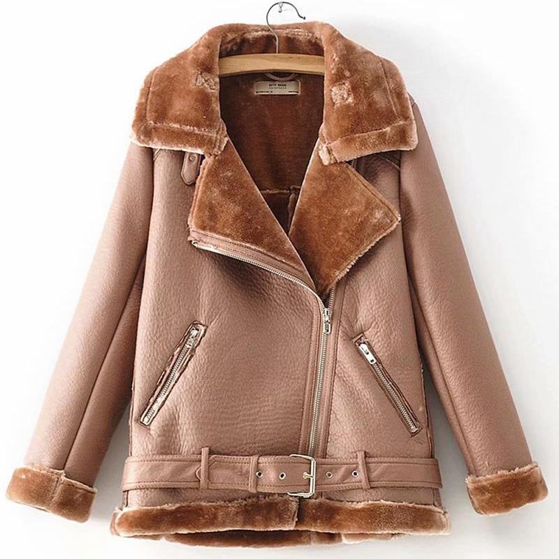Warm women's winter motorcycle velvet jacket female short 7