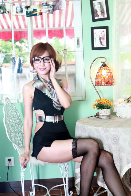 Sexy Party Club Office Cosplay Secretary Dress Lingerie Costume Outfit Tie Free Shipping Zf