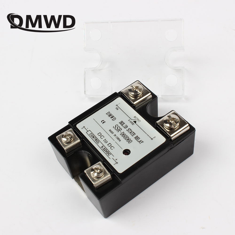SSR 40DD 40A DC single phase solid state relay with indicator SSR-40DD Input 5-32V DC load 5-220V DC SSR-D220D40 ssr 40da single phase solid state relay white silver