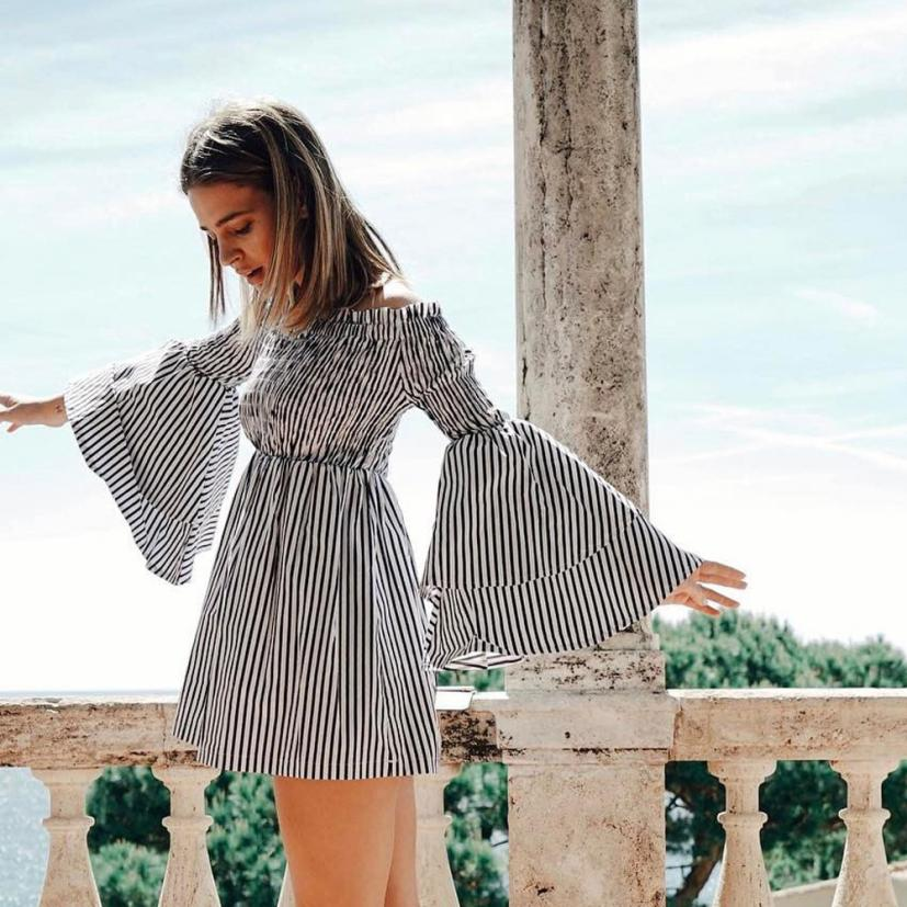 KANCOOLD dress new high quality Holiday Off Shoulder Stripe Party Ladies Casual Dress Long Sleeve dress women feb7