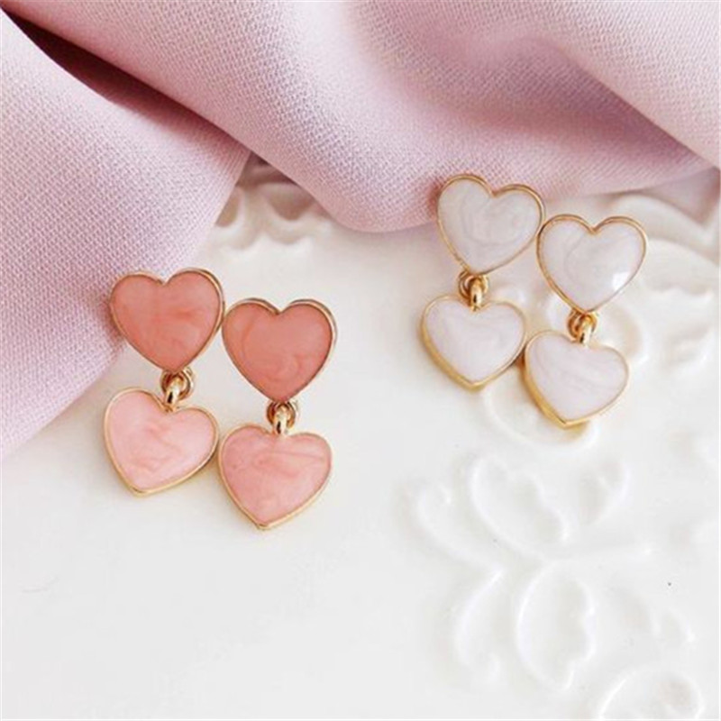 silver tassel earrings Peach heart-shaped diamond earrings