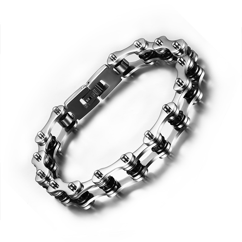 Men S Woman Polished Stainless Steel Blue Black Cubic Zirconia Bicycle Link Chain Bracelet Jewelry Gift 9 Inches 10mm Wide In Bracelets