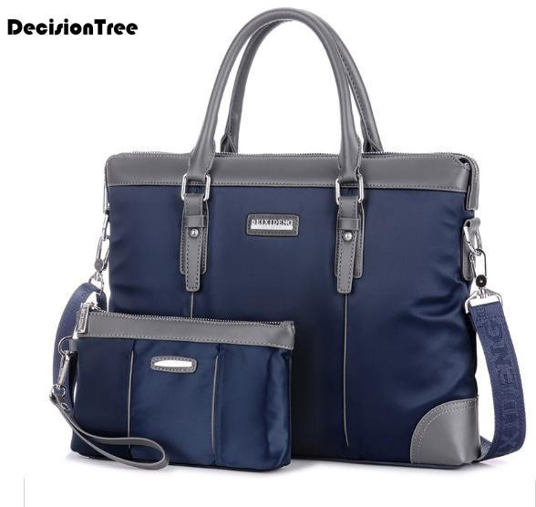 Leisure Men Briefcases Fashion Men Business Solid Zipper 14 Inch Laptop Bags Men's Shoulder Bags With Handbags Two Sizes L416
