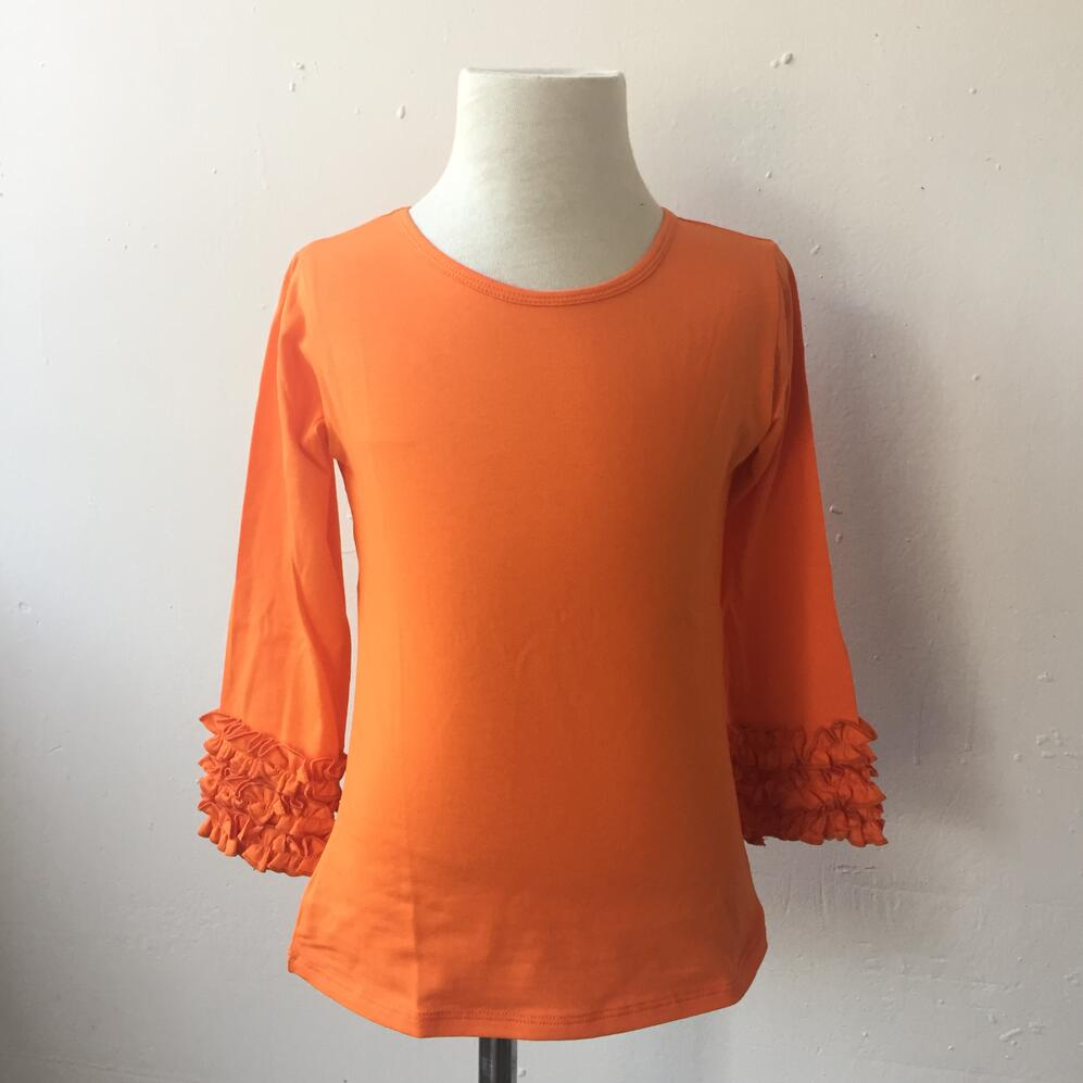Baby/Toddler Boutique Plain tee shirt orange color Halloween Thanksgiving infant Blank Ruffle Icing Shirt newborn baby clothes