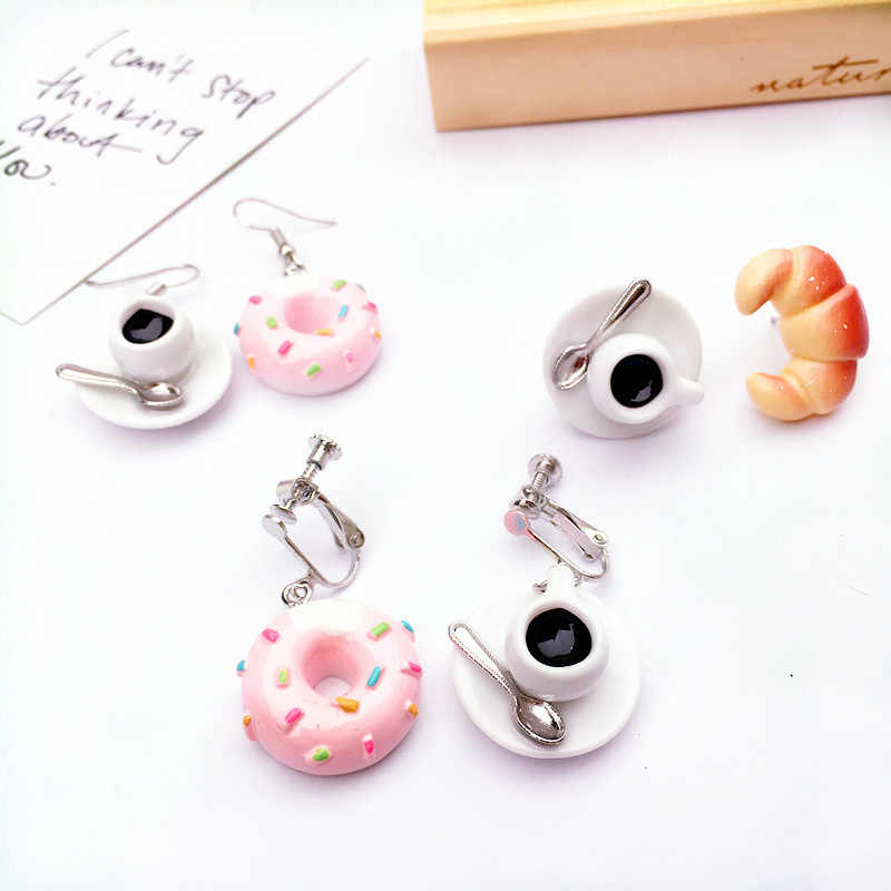 Creative Funny Cute Tea Cake Strawberry Cookies Coffee Donut Bread Combination Earrings Personality Ear Clips for Women Jewelry