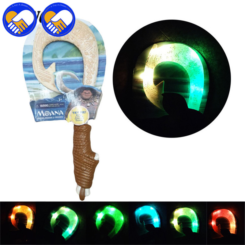 A TOY A DREAN Moana Waialiki Maui Heihei ABS weapons light sound saber fishing hook Figure Moana Adventure ABS lightsaber Toys moana waialiki maui heihei weapons light sound saber fishing hook action figures toy for children gift
