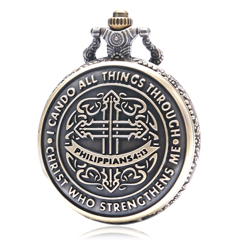 I Can Do All Things Through Christ Who Strengthens Me Bible Philippians 413 God Jesus Christian Pocket Watch Religious Pendants 2018 (3)