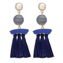 HOCOLE Fashion Simulated Pearl Tassel Earrings Vintage Big stripe Cotton Handmade Jewelry Drop for Women Accessories
