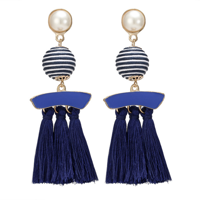 HOCOLE Fashion Simulated Pearl Tassel Earrings Vintage Big stripe Cotton Handmad