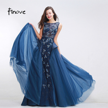 Finove Flowers Prom Dresses A-Line Floor Length Dresses for