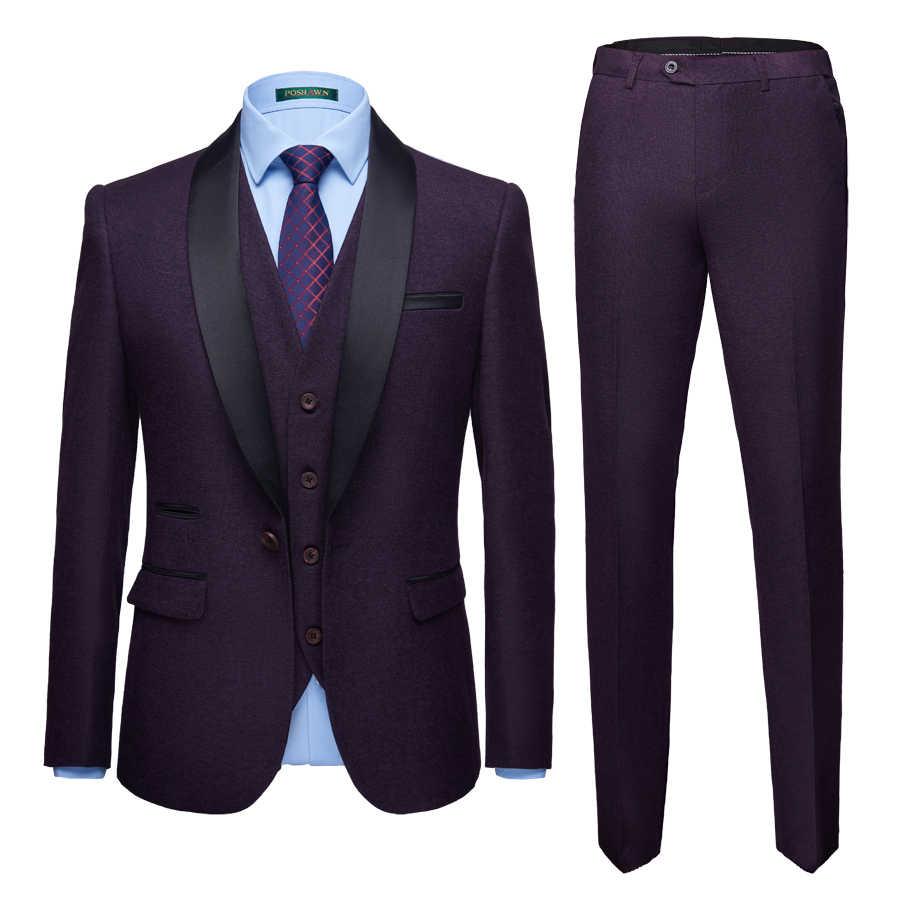 新スタイル花婿の付添人ショールラペル新郎タキシード固体マルチカラーは、結婚式の最高男性のブレザー (スーツジャケット + パンツ + ベスト)