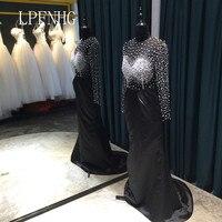 Nero Mermaid Prom Dresses 2018 O-Collo Manica Lunga Zipper Sweep Treno Raso e Perline Abiti Da Sera Abiti Da Festa